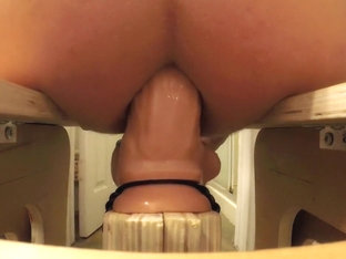Riding the rocker sex machine with a real cock dildo!!!