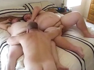 Nasty fat men in an awesome threesome gay sex
