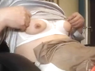 Sexy tv loves wearing satin blouse and nipple play