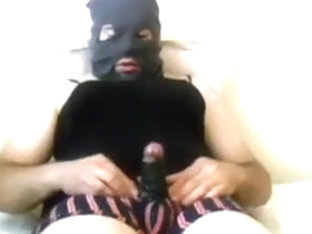 masked cumshot with homemade fleshlight 1