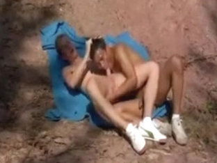 Excited anal sex outdoors