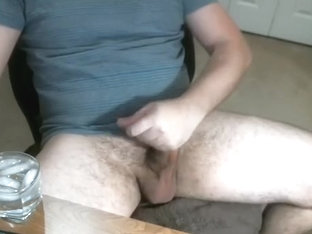 Handsome boyfriend is playing in the apartment and memorializing himself on computer webcam
