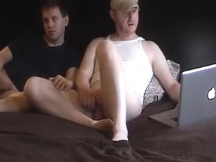 Enchanting boyfriend is playing in a small room and filming himself on web camera