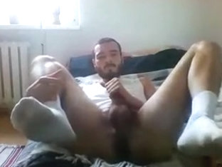 beard masturbation on bed with plunger