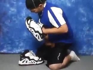 Wanking on Nike Uptempo