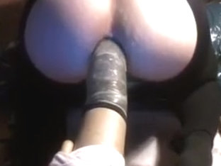 fuck my asspussy - huge dildo toy anal insertion