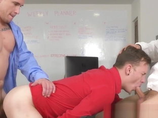Stress relief in the office when hung hunks fuck wildly