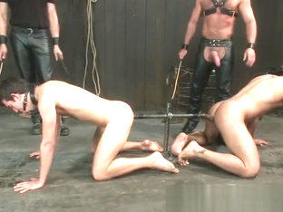 Gay slave gets caged and anal electro part4