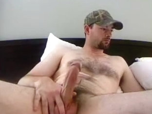 Handsome fag is jerking at home and shooting himself on web camera