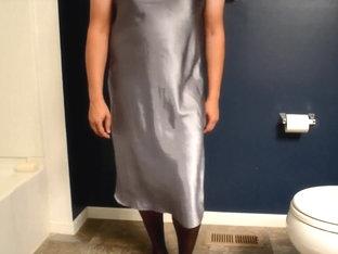 Crossdresser sissy cock satin lingerie