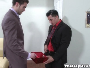 Office hunks receive hard dick in a box