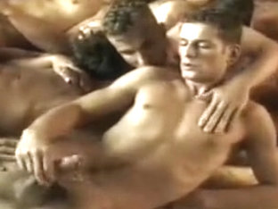 Hottest male in amazing handjob, group sex gay porn clip