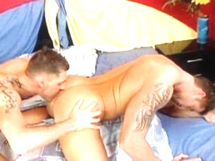 Incredible male pornstar Julian Vincenzo in amazing tattoos, rimming homosexual sex scene