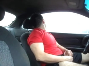 shaggy latino jerk off in the car